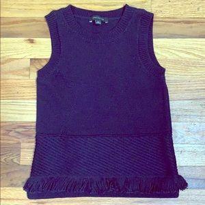 NWOT Ann Taylor sleeveless navy sweater w/ fringe